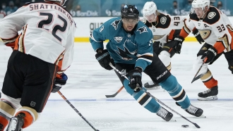 NHL player Evander Kane of the San Jose Sharks on the ice