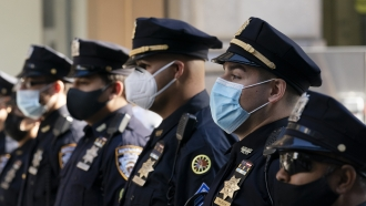 New York Police Department officers in masks