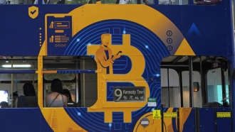 Advertisement for the Bitcoin cryptocurrency.