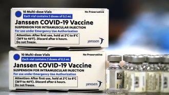 Boxes containing the Johnson & Johnson COVID-19 vaccine