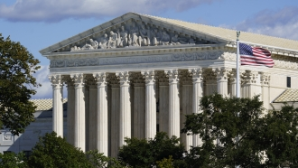 An exterior view of the Supreme Court building