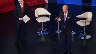 President Joe Biden participates in a CNN town hall