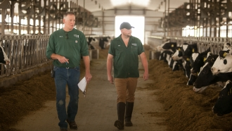 Mark Crave, left, and Pat Crave, right at Crave Brothers Farmstead Cheese