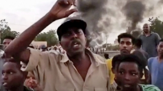 People gather during a protest in Khartoum, Sudan