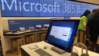 A Microsoft computer on display.