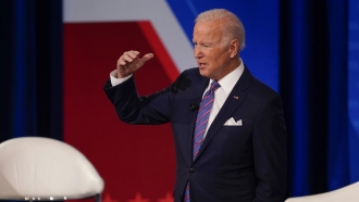 President Joe Biden participates in a CNN town hall at the Baltimore Center Stage Pearlstone Theater, Thursday, Oct. 21, 2021