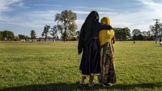 Two Afghan refugee girls.