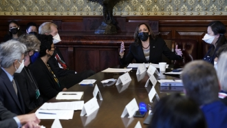Vice President Kamala Harris speaks during a meeting