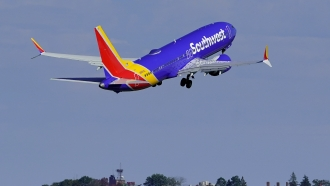 Southwest Airlines flight takes off.