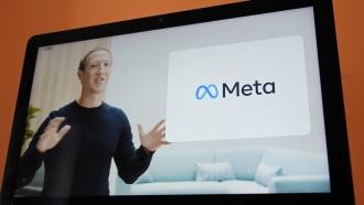 CEO Mark Zuckerberg with Meta logo
