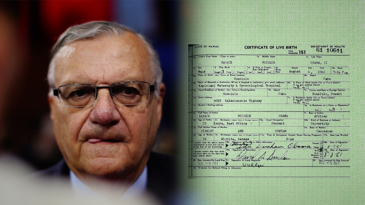 Arpaio Claims He Can Prove Obamas Birth Certificate Is Fake Video