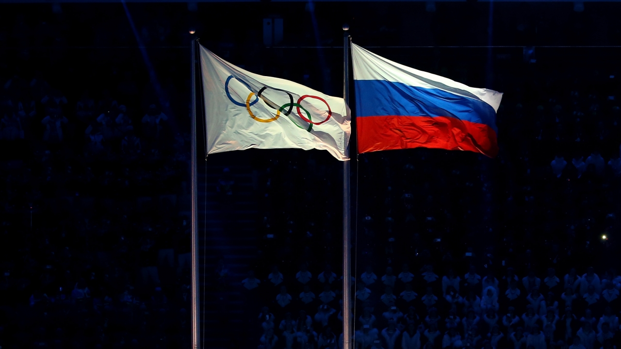 The Olympic and Russian flags at the 2014 Sochi Olympic Games