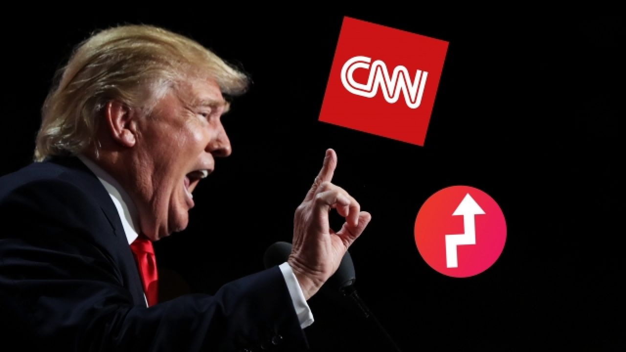 Donald Trump and logos for BuzzFeed and CNN