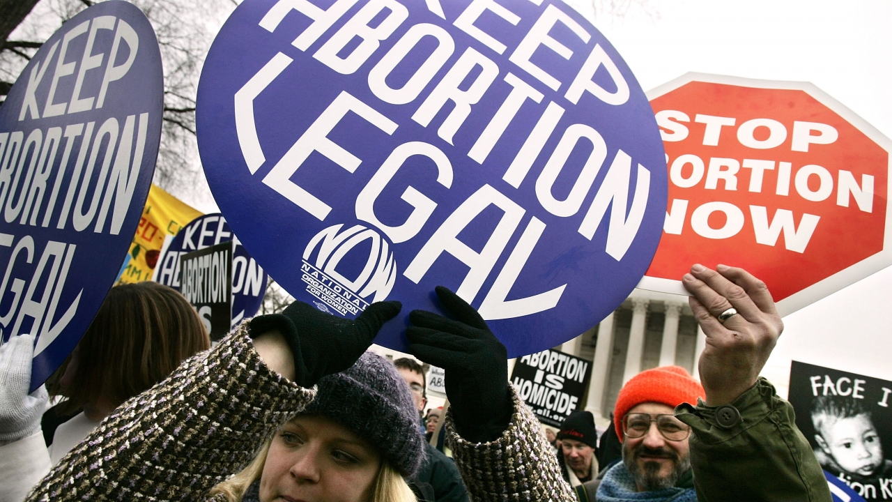 Pro-choice and pro-life activists