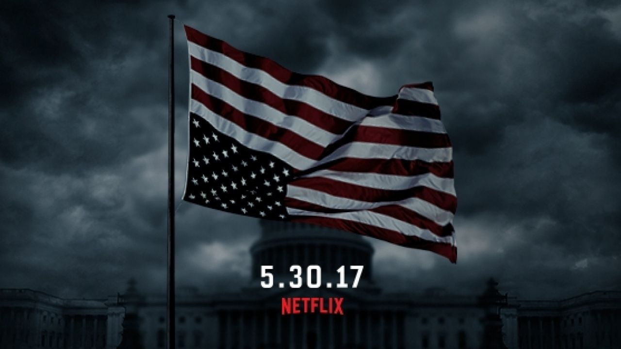 "American flag hangs upside down in ""House of Cards"" promotional image"