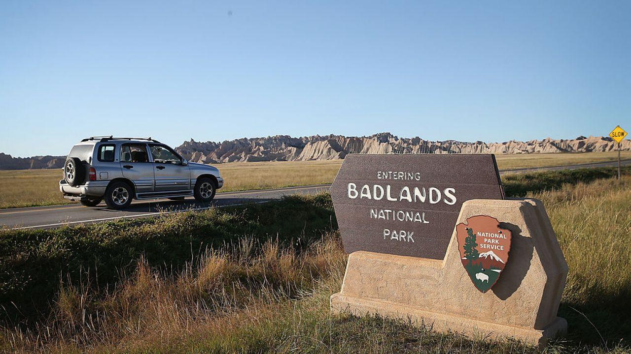 Badlands National Park sign in South Dakota