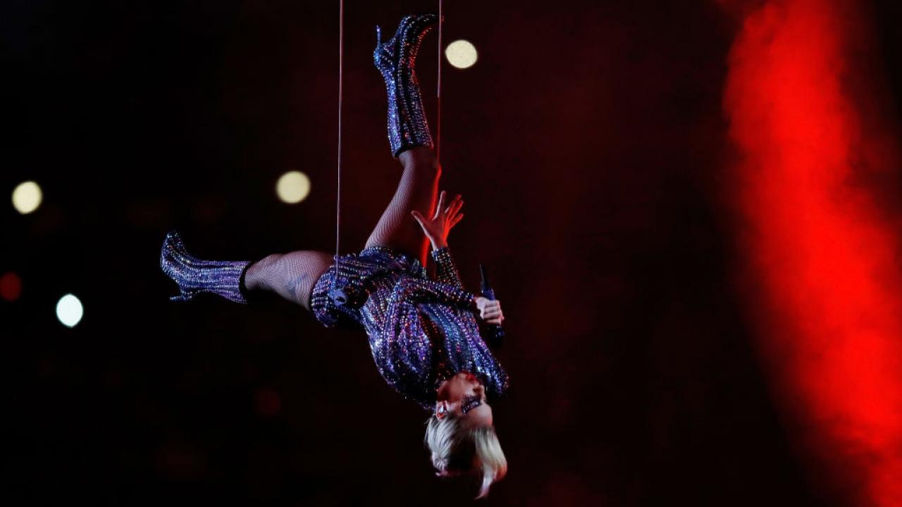 Lady Gaga performs at Super Bowl LI.