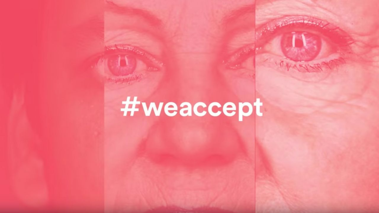 Three faces mashed up with the phrase #weaccept over it
