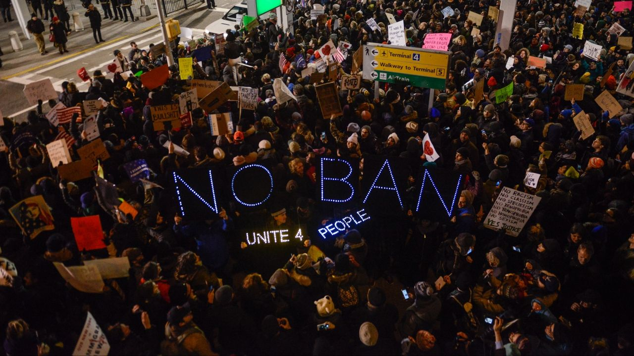 Protest against the travel ban on several Muslim-majority countries