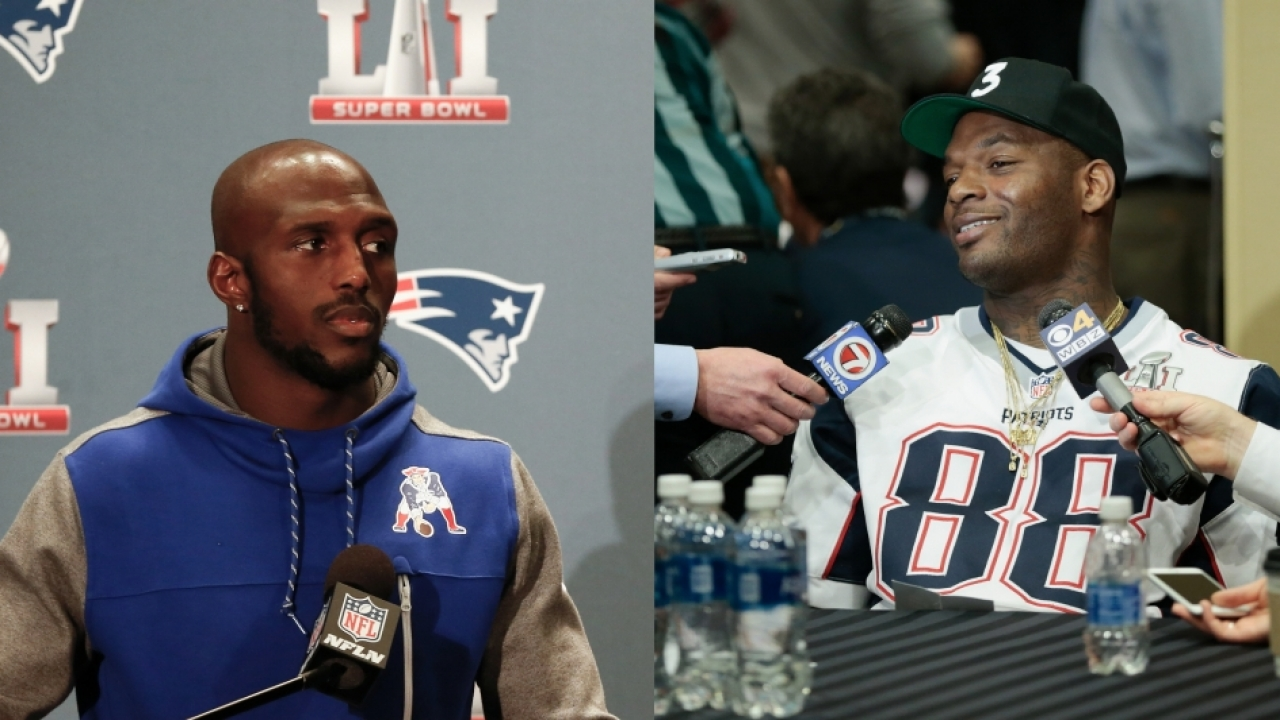 NFL players Devin McCourty and Martellus Bennett