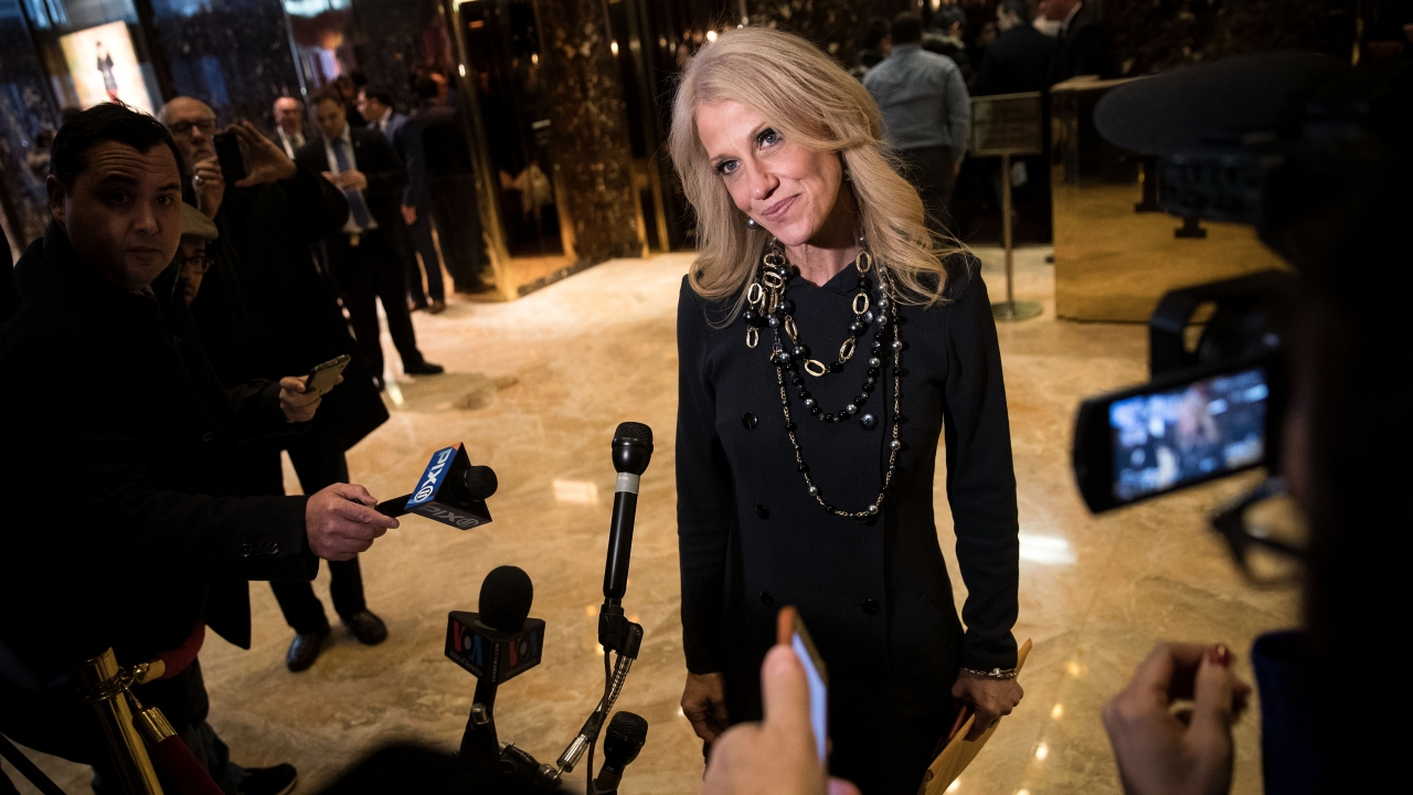 Kellyanne Conway in front of cameras