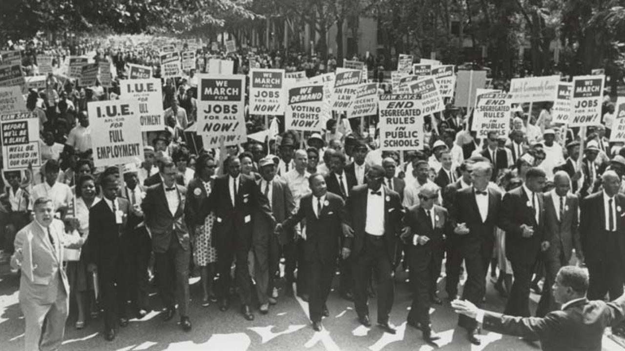 Martin Luther King Jr. leads the March on Washington.