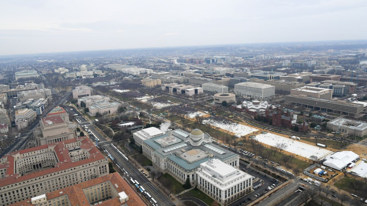 A National Park Service photo showing the crowd at President Trump's inauguration.