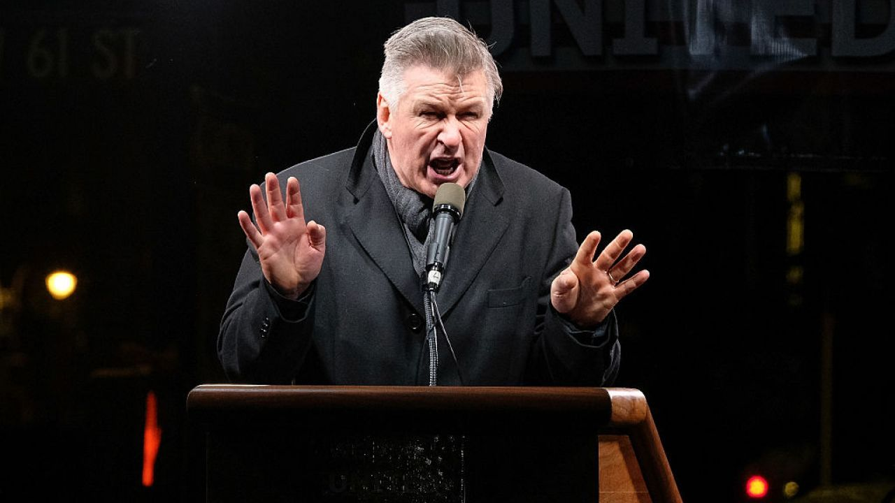 Alec Baldwin gives a speech at a New York rally.