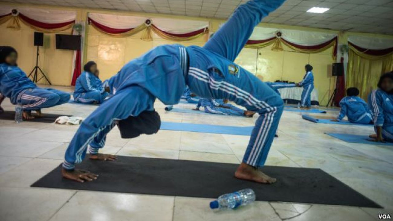 A survivor of violence in Somalia takes part in a wellness program