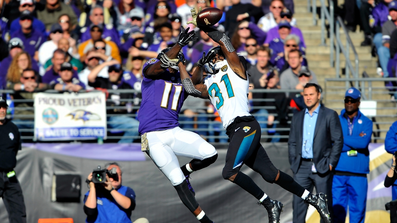 The Jacksonville Jaguars play the Baltimore Ravens.