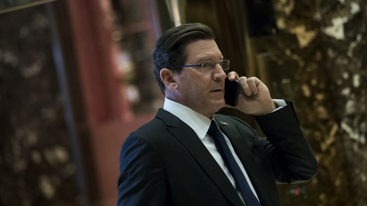 Eric Bolling takes a phone call in Trump Tower.