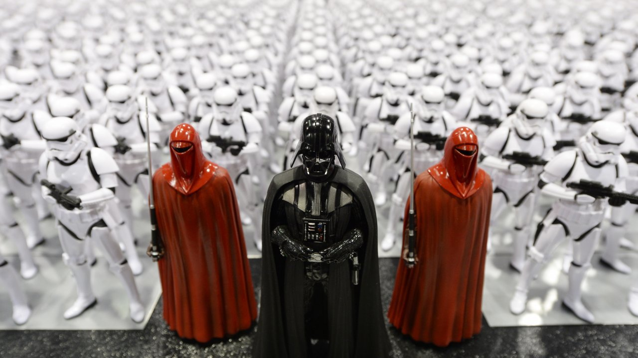 Darth Vader and stormtrooper toys