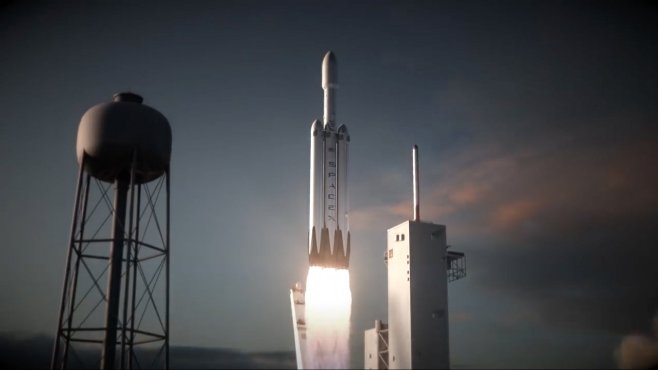 Animation of the SpaceX Falcon Heavy Launch