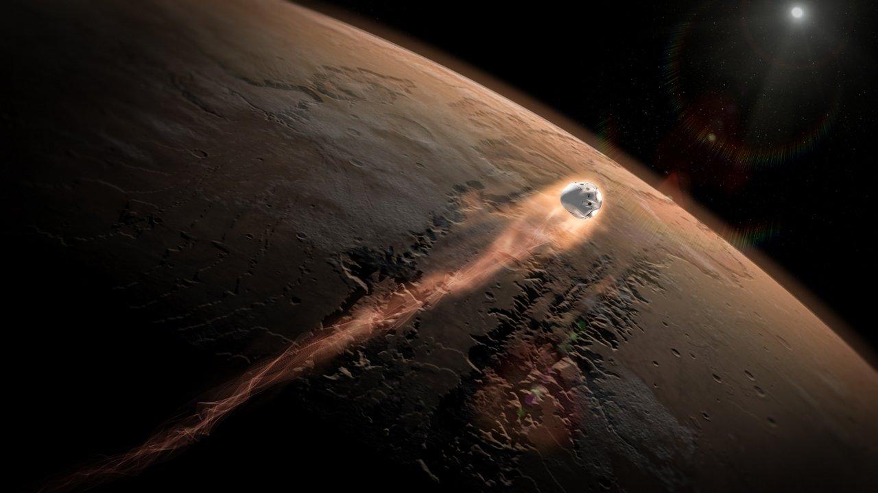 SpaceX's Dragon capsule entering Mars' atmosphere