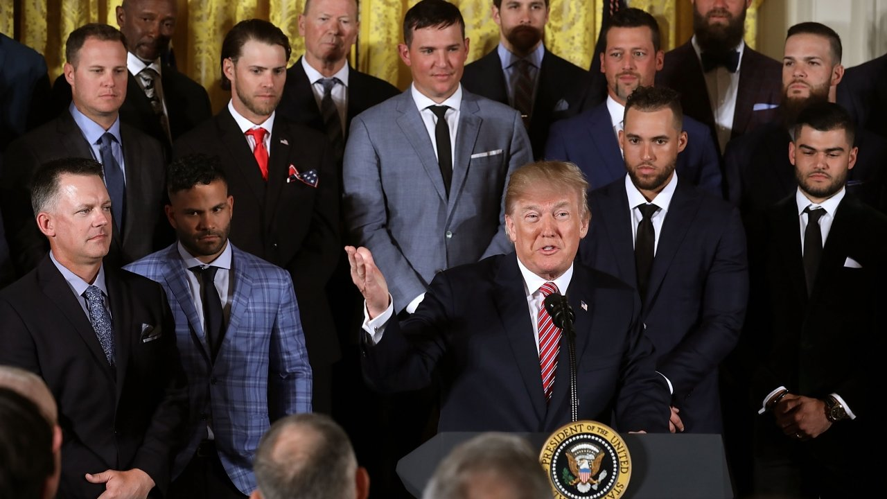 President Trump and members of the Houston Astros