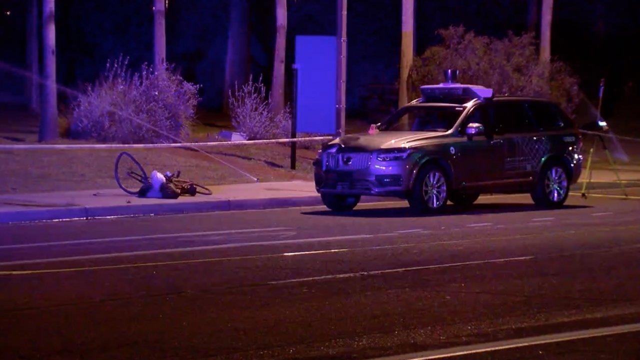 The scene of a fatal Uber crash in Arizona
