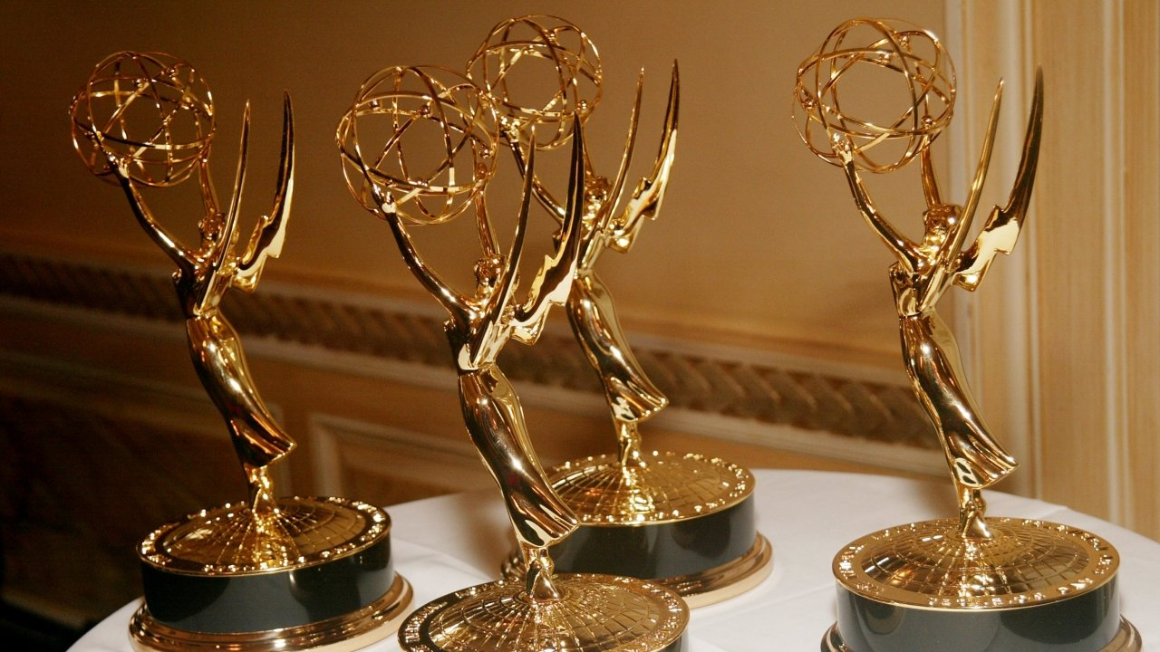 Emmy Awards sit on a table