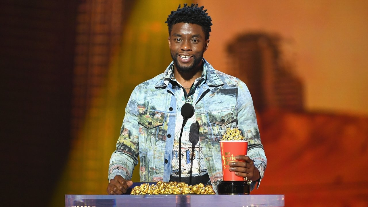 Actor Chadwick Boseman accepts the Best Performance in a Movie award for 'Black Panther' during the 2018 MTV Movie Awards.
