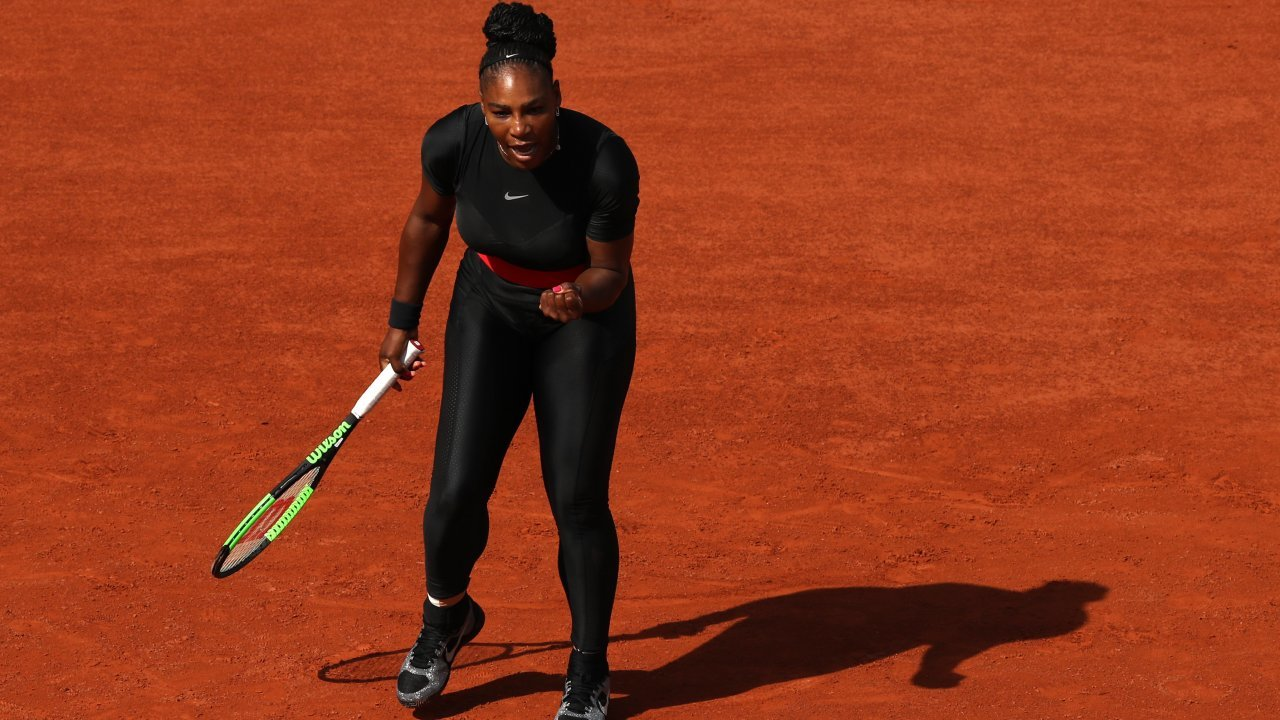 Serena Williams wears her catsuit at the 2018 French Open.