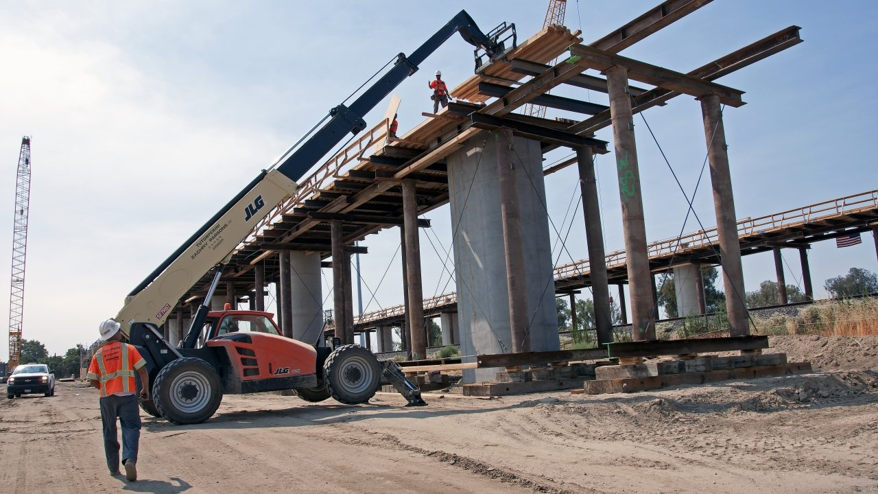 A high-speed rail under construction