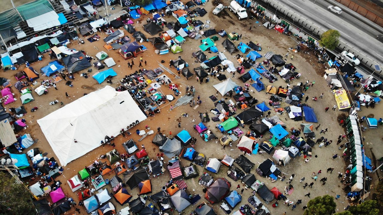 An aerial view of the temporary shelter set up for migrants in Mexico