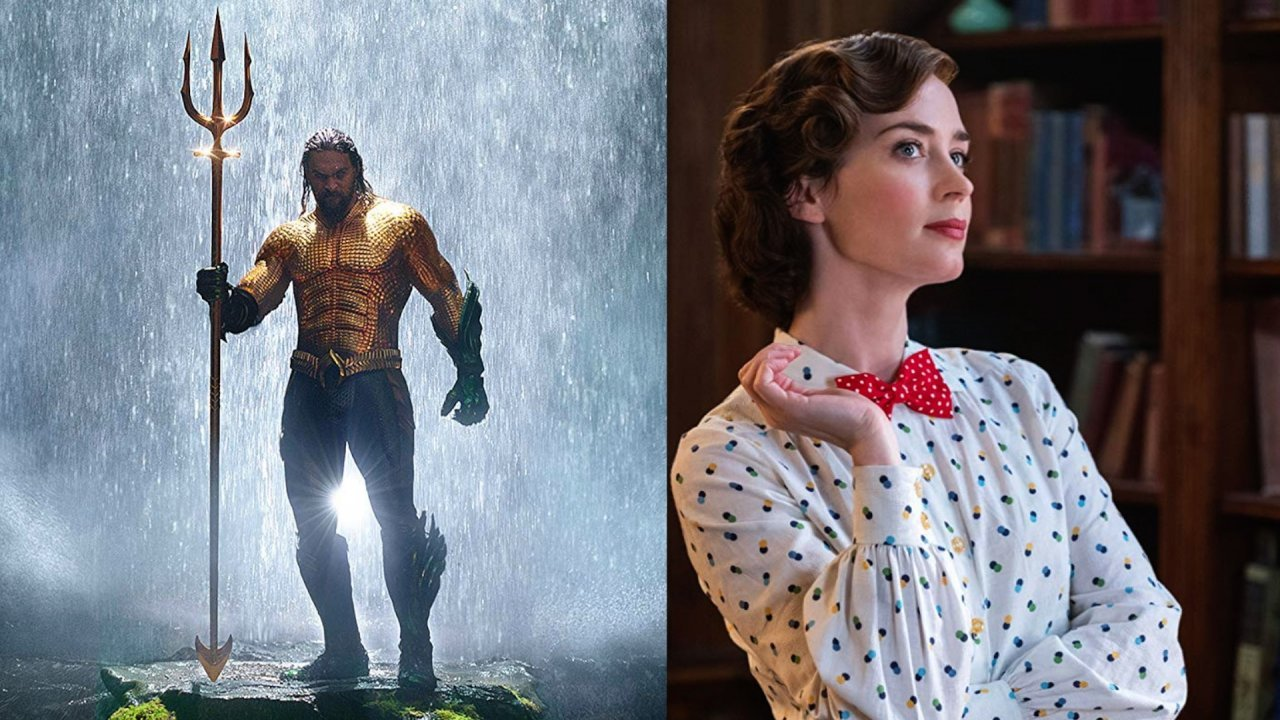 Jason Momoa as 'Aquaman' and Emily Blunt as 'Mary Poppins'