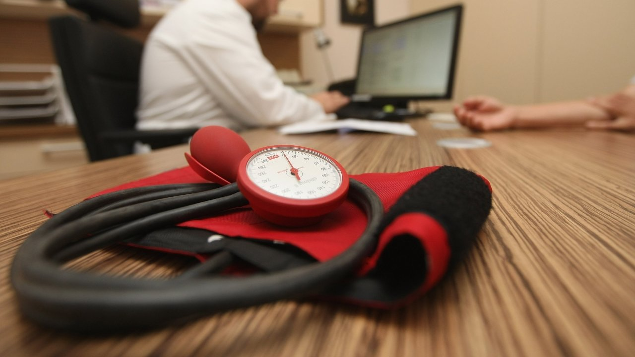 A blood pressure meter on a doctor's desk