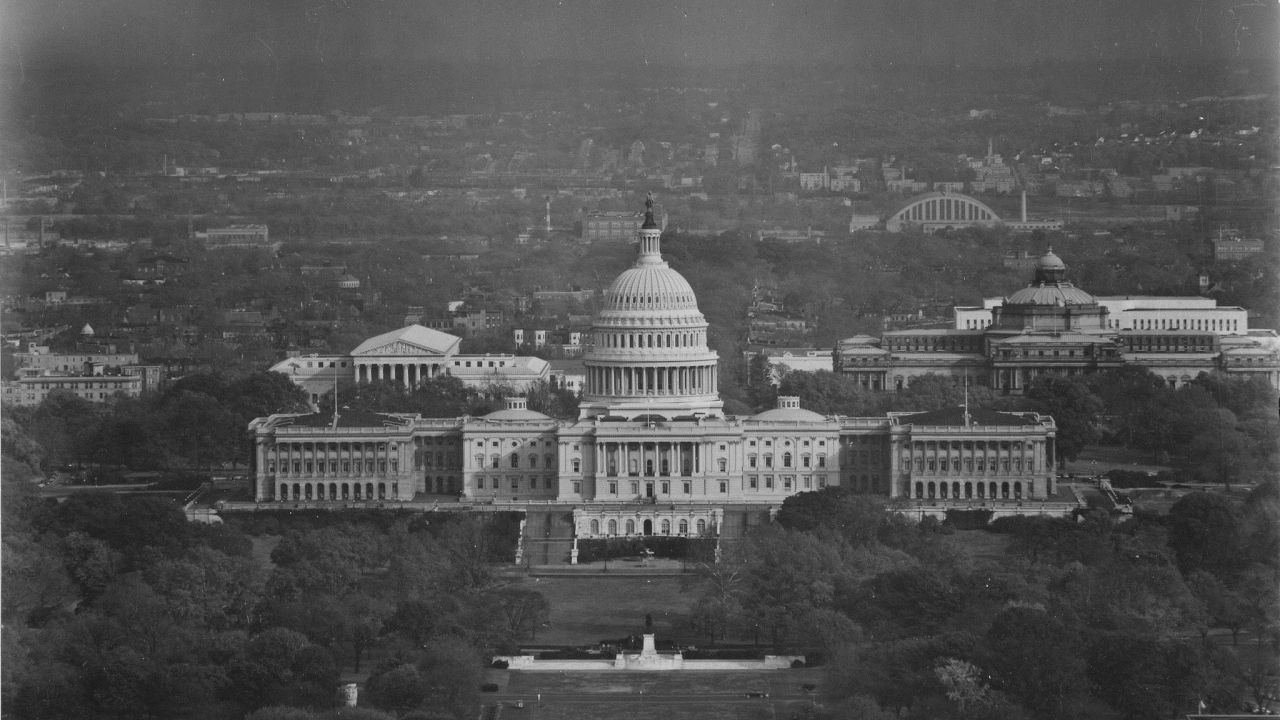 Senate building in black and white