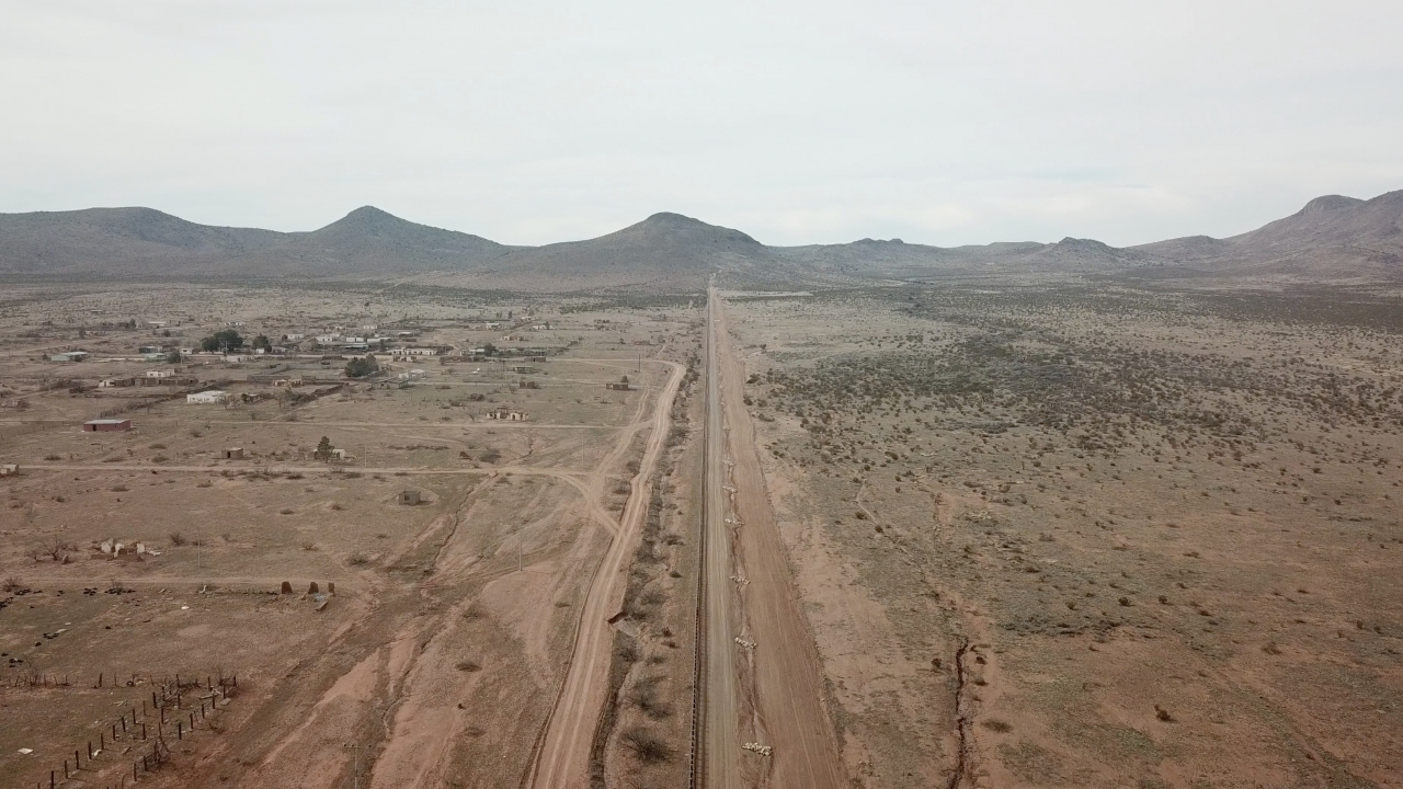 A birds-eye view of the border at the southern end of James Johnson's farm in New Mexico.