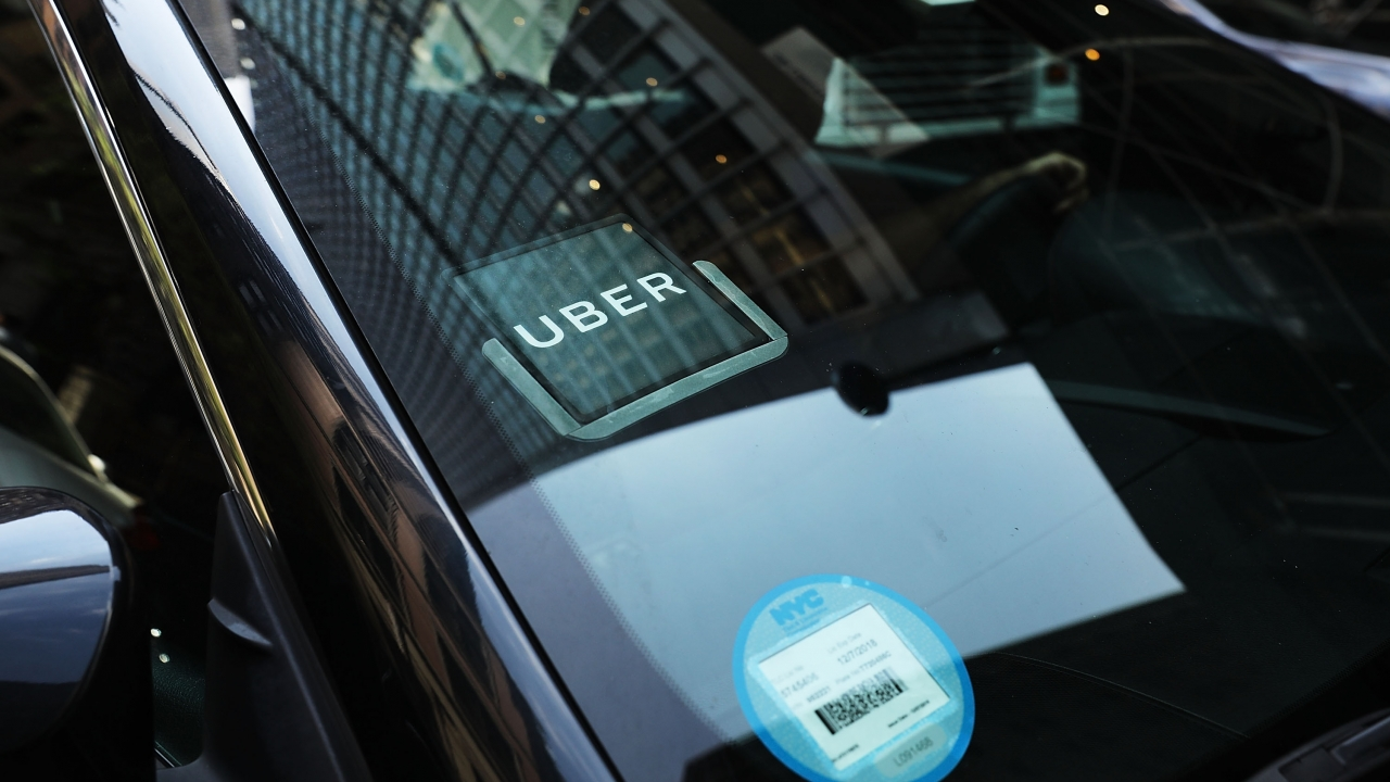 An Uber car waits for a client.
