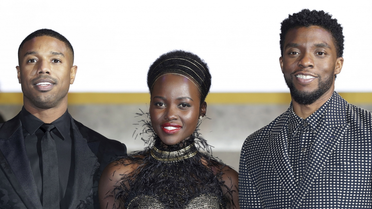 """Stars of """"Black Panther"""" on the red carpet at a premiere of the movie"""