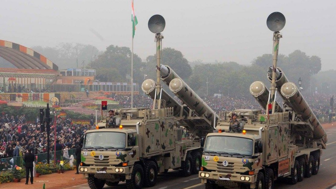 Missiles on display at a parade in India