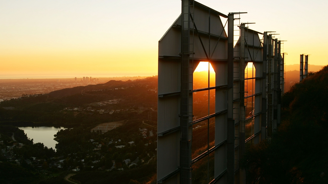 The Hollywood sign at sunset