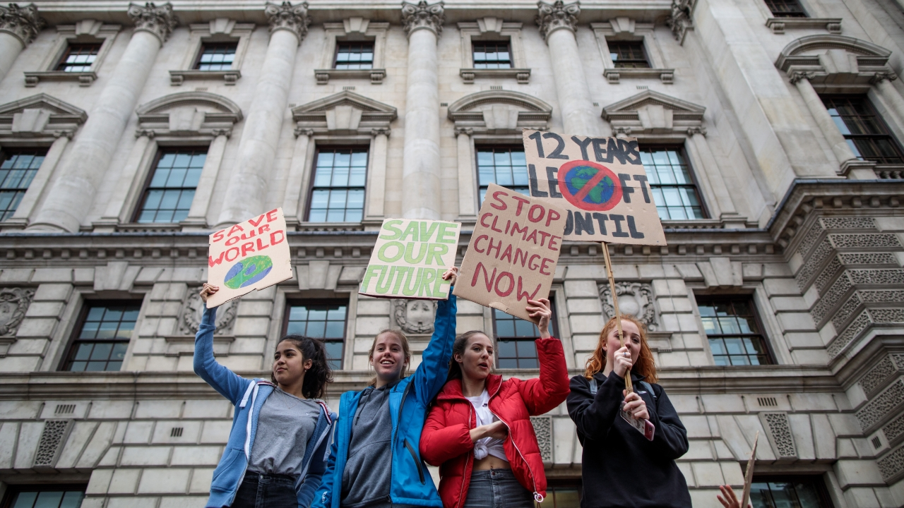 Students in London take part in protest on climate change